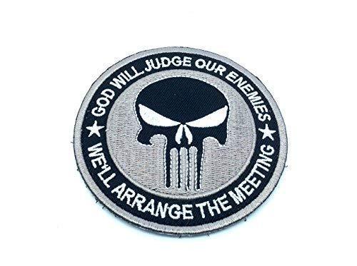 Patch Nation Punisher God Will Judge Our Enemies Grau Gestickte Airsoft Klettverschluss-Flecken