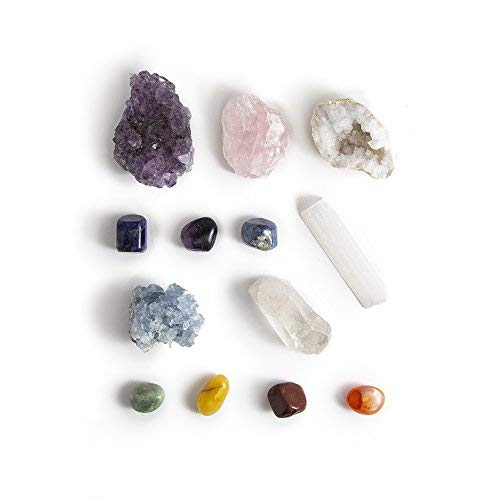 13 Pcs Chakra Crystal Sampler Set ~ Large Healing Kit: 6 Minerals-Amethyst Cluster, Raw Rose Quartz, Crystal Point, Selenite Blue Celestite And Half Geode + Plus 1 Bag Of 7 Chakra Tumbled Stone