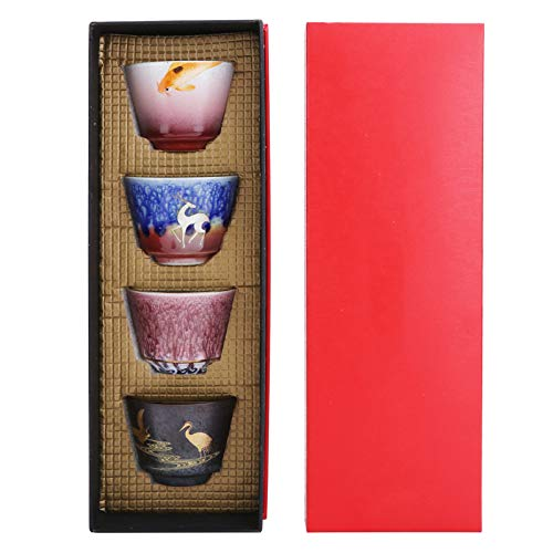 Juego de tazas de cerámica de 4 unids/set, taza de Kung Fu, juego de gres de cerámica hecho a mano, taza de café con leche, suministros para el hogar