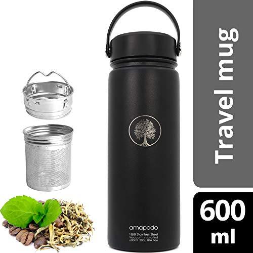amapodo Thermosflasche Teamaker doppelwandig 600ml Thermo Edelstahl Trinkflasche in Schwarz mit Tee Sieb und Deckel BPA-frei
