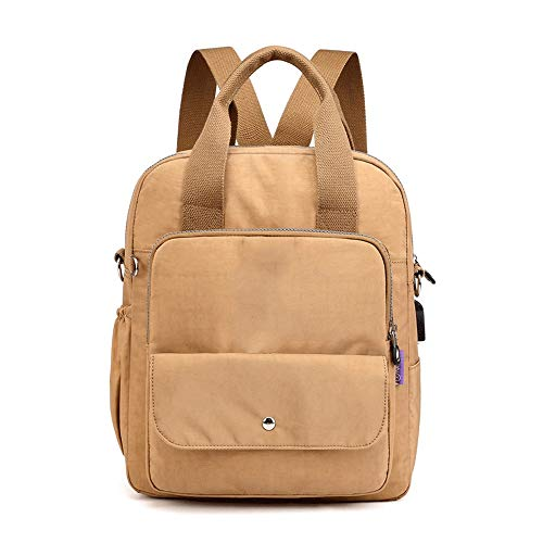 USB-hoofdtelefoon-poort-rugzak voor mannen, laptoptas, 14 in dunne lichte schooltas, voor het werk van mannen en vrouwen, bruin (bruin) - AZZ