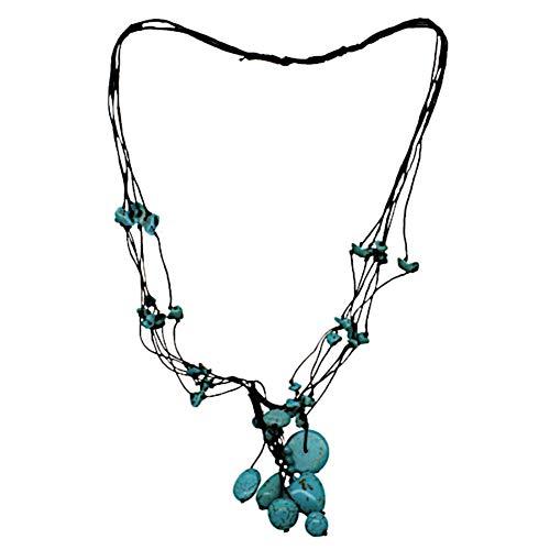 CHICNET Damen Halskette Kette Baumwollkette schwarz Türkis Herz Stein Splitter Perlen mehrlagig gewachst Baumwolle 40cm Handmade Steinkette