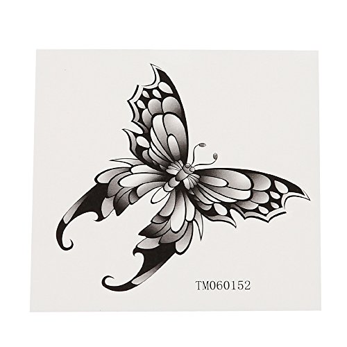 Klebetattoo temporär Schmetterling gothic style schwarz grau weiß 1 Bogen