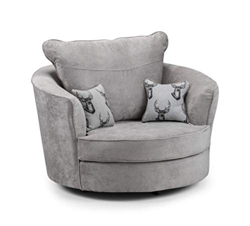Honeypot - Verona Grey Fabric Corner Sofa - 3 Seater - 2 Seater - Armchair - Footstool (Swivel Chair, Grey)