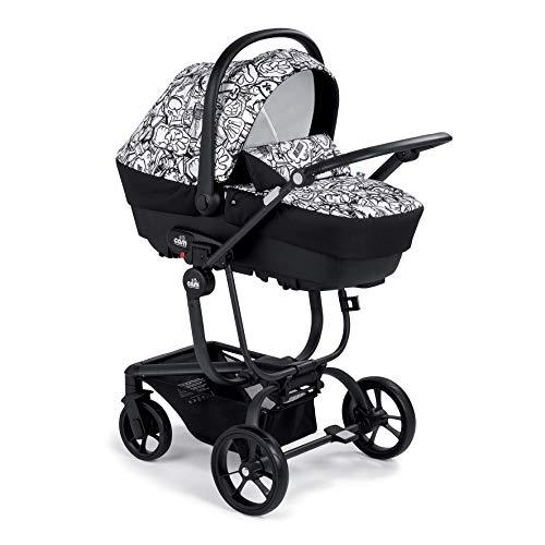 CAM 3 in 1 Kombikinderwagen TASKI SPORT | Kinderwagen/Buggy/Autositz in Einem | sicher & komfortabel | hochwertige Materialen - Made in Italy (Comics grau/weiß)