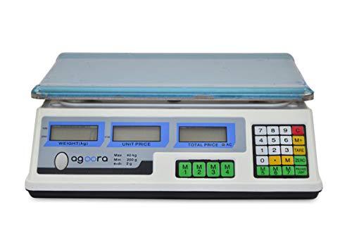 AgoraDirect - Bascula Comercial 40kg/2g, Plataforma de Acero Inoxidable 33x24cm, Batería Interna Recargable con 40 Horas de Autonomía, Balanza Digital Profesional Para Hostelería, Bollería, Frutería