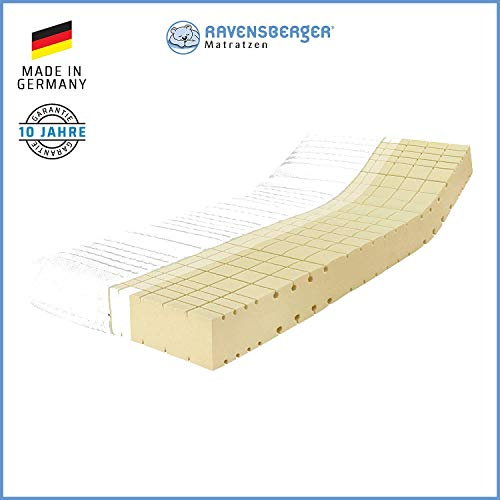 RAVENSBERGER Komfort-SAN® 50 | HR-Kaltschaummatratze | H3 RG 50 (80-120 kg) | Made IN Germany - 10 Jahre Garantie | Baumwoll-Doppeltuch-Bezug | TÜV-Zertifiziert | 90 x 200 cm