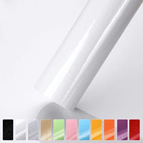 iKINLO Möbelfolie Selbstklebende Klebefolie Weiß mit Glitzer Dekorfolie Küchenschrank Folie Küchenfolie aus PVC Wasserfest Tapete für Arbeitsplatte Wände Tür Schränke, 0.61 * 5M