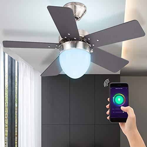 Decken Ventilator Vor-Rücklauf Lüfter Sprach App Steuerung Lampe DIMMBAR RGB LED Leuchtmittel