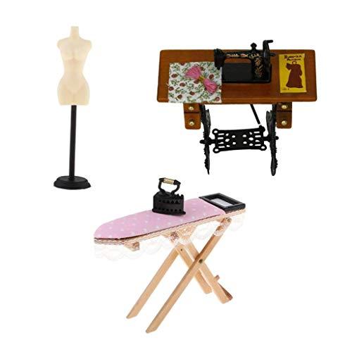 perfeclan Miniatur Nähmaschine, Bügelbrett Set, Kleiderständer Mit Schaufensterpuppe, 3 Teilig, 1/12 Puppenhaus Wohnzimmerdekor