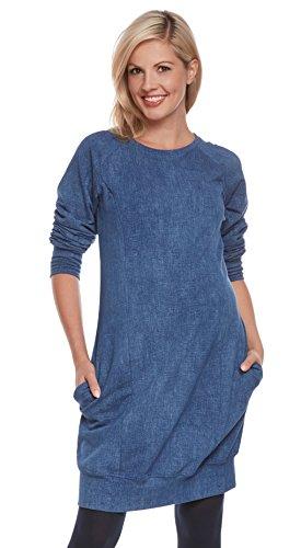 Be Mama - Maternity & Baby wear 2in1 Umstandskleid, Stillkleid, Sweatkleid Modell: SPORTISSIMA, Jeansblau, L