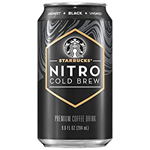 Starbucks Nitro Cold Brew, Black Unsweetened, 9.6 fl oz Can (8 Pack)