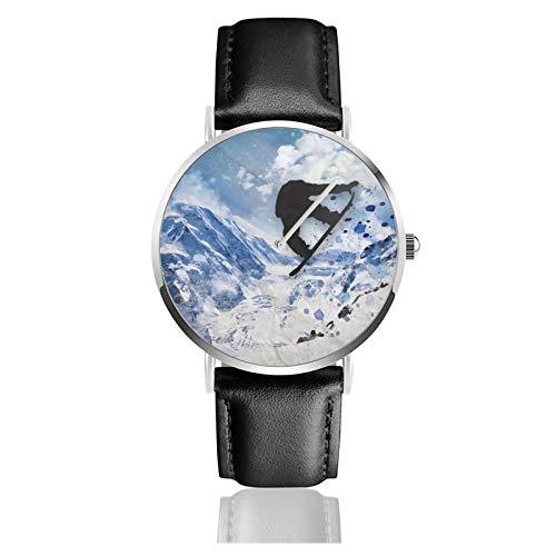 Damen Fashion Minimalistische Armbanduhr Quarz Armbanduhr Snowboarder im Flug Lederband Uhr