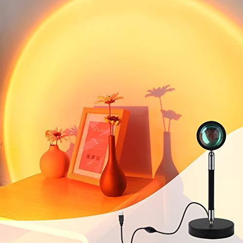 Sunset Lamp,Sunset Projection Lamp,Sonnenuntergang Rot lampe,350°Drehung LED Projektor Licht Nachtlicht,Romantic Moderne Wohnzimmer Schlafzimmer Deko Stehlampe Fotografie Hintergrund