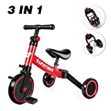 besrey 3 en 1 Vélo Draisienne Tricycle Évolutif pour Enfant, Selle et Guidon Réglable, Vélo sans Pédale pour Bébé 1-3 Ans à Apprentisage d'Équilibre