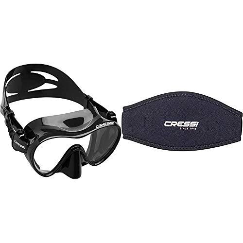 Cressi F1 Mask Máscara Monocristal Tecnología Frameless, Unisex, Negro, L + Mask Strap - Funda de Correa de Surf, tamaño único, Color Negro