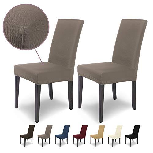 SCHEFFLER-Home MIA Microfibra 2 Fundas de sillas, Estirable Cubiertas, extraíble flexibel Funda con Banda elástica, Topo