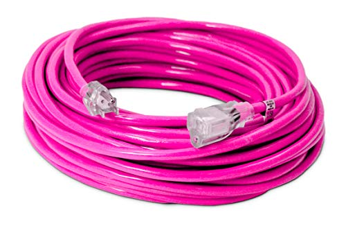 100-ft 14/3 Heavy Duty Lighted SJTW Indoor/Outdoor Extension Cord by Watts Wire - Long Pink 100 14-Gauge Grounded 13-Amp Three-Prong Power-Cord (100 foot 14-Awg)