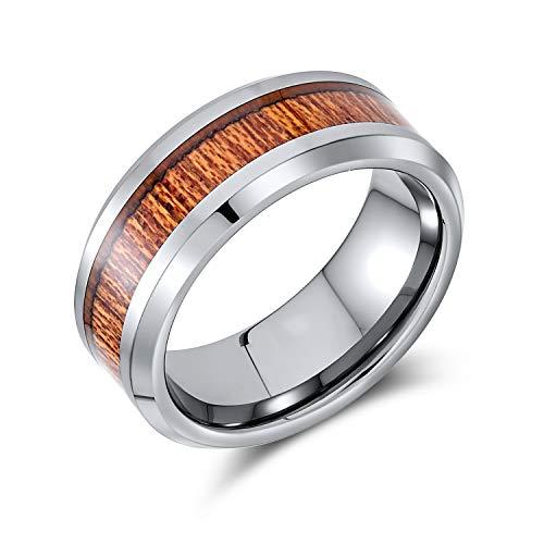 Bling Jewelry Koa Madera Inlay Titanio Anillos de Boda para Hombres para Mujeres Tono Plata Comodidad Ajuste 8MM