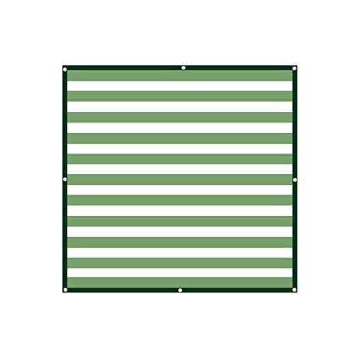 WZF Manivelas de Cortina Verde/Blanco Costuras Color Espesamiento Red de Sombra Cifrado a Rayas Protección Solar Red de Sombra para Patio Balcón Toldo de Carro (Dimensiones: 4m x 6m)
