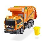 Dickie - Action Series Camión de basura 39 cm, incluye cubo de basura,...
