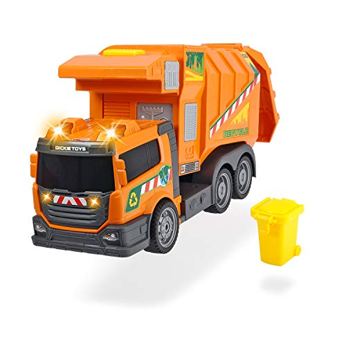 Dickie Toys 203308383 Garbage Collector 203308383-Garbage, batteriebetriebens Müllauto mit Licht-& Soundfunktion, 39 cm, orange