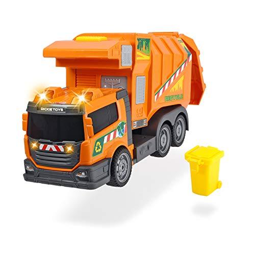 Dickie - Action Series Camión de basura 39 cm, incluye cubo de basura, elevador lateral, luz y sonido (Dickie 3308383)