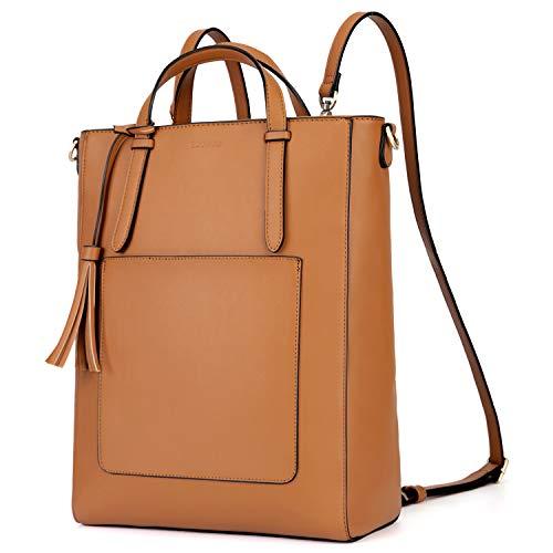 ECOSUSI Rucksack Damen Handtasche Multifunktion 3 In 3 Tote bag Tragetasche für Die Arbeit Schule Reisen,Braun