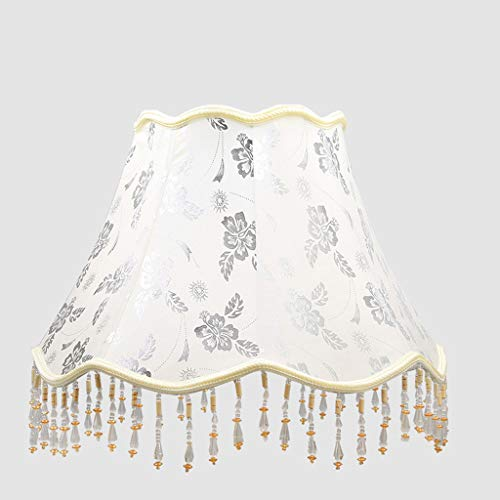 ZQH Weiß Lampenschirme, Retro Trommel Lampenschirm groß Stoff Lampenschirm für Tischlampe Konische Leinen Lichtschatten Bett Lampenschirm Halter für E27 Lampenfassungen,D41cm