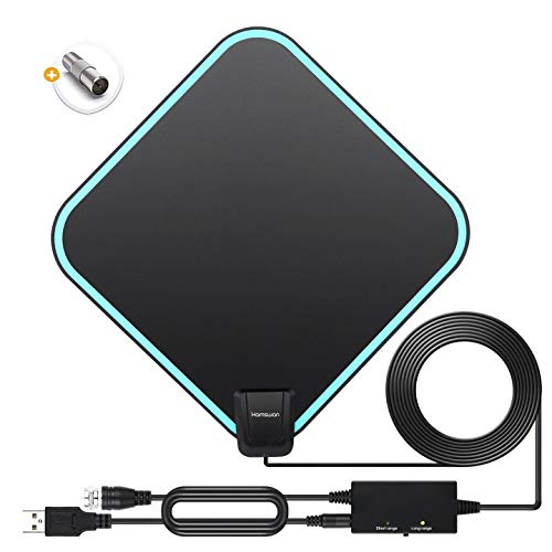 Antenna TV Interna, Digitale Amplificata Antenna, Portata di 200 Miglia con Segnale TV Amplificatore, Adatto per Canali Locali Gratuiti 4K