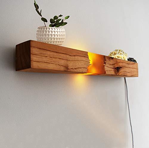 H.W.S Holz Wandleuchte Vintage Wandlampe Retro Wandbeleuchtung Mit Schalter LED Wasserdichter...