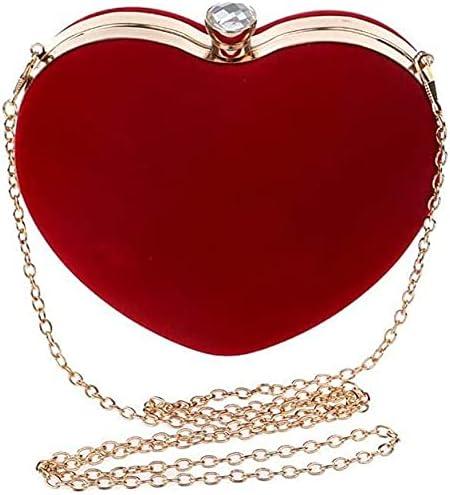 BDBT Women's Evening Handbags Heart-Shaped Diamond Women's Evening Dress Chain Shoulder Purse, Suitable for Wedding, Party (Color : Red)