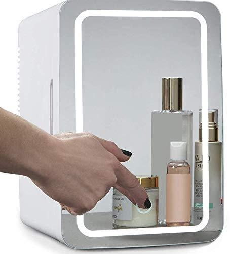 Beauty Mini frigo, 8 l, compatto per trucchi, cosmetici, per auto, casa, ufficio, dormitori, (pannello in vetro + illuminazione a LED)