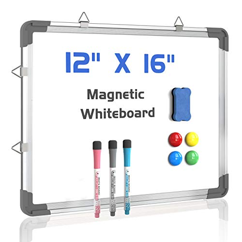 Small Dry Erase White Board 12' x 16' Magnetic Hanging Whiteboard for Wall Double Sided Portable Mini White Boards for Students Memo Board for Home School Office