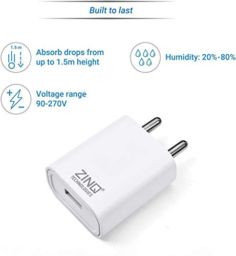 Zinq Technologies 2A Single Port Mobile Charger with 1Mtr USB Cable Included (White)