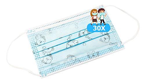 TBOC Mascarilla Higiénica Niños No Reutilizable -  [Pack 30 Unidades] 3 Capas [Color Azul Dog]