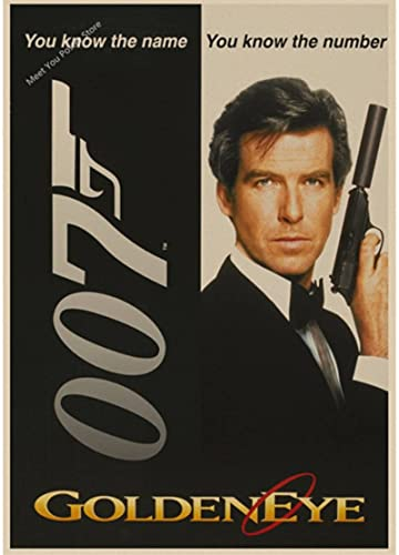 YANGHONG Decorative Canvas Poster 007 Posters Pierce Brosnan Classic Movies Vintage Poster Home Decor Bar Poster50*70 Cm Frameless, Moisture-Proof And Durable