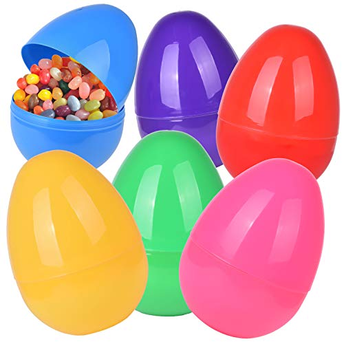 6 PCs Jumbo Plastic Easter Eggs, 6 Assorted Colors, 9.8 X 7.1 Inch Easter Party Favor Set, Easter Basket Stuffers