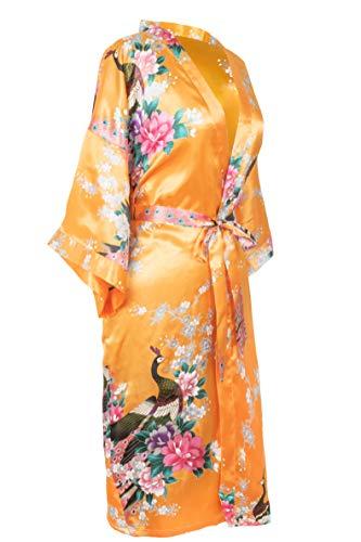 CCcollections Kimono Robe lang 16 Farben Prämie Pfau Brautjungfer Brautdusche Damen Geschenk (Pfauenorange)