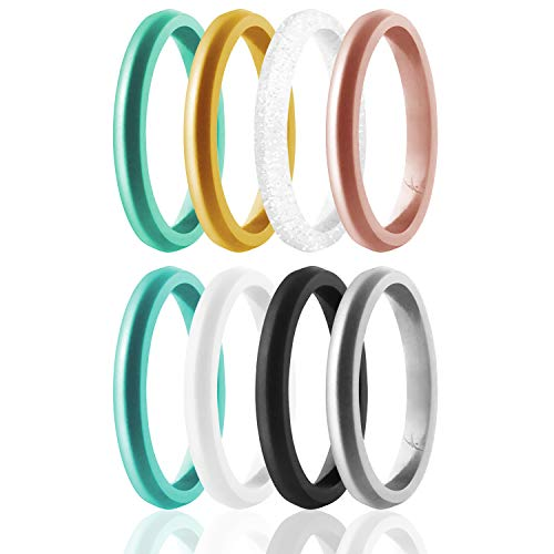 ROQ Silicone Wedding Ring For Women, Set of 8 Thin Stackable Silicone Rubber Wedding Bands Point - Turquoise, Pink, Purple, Black, White, Silver - Size 10