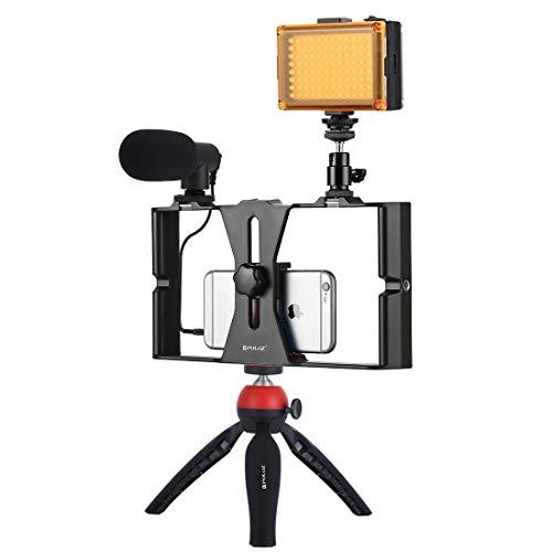 Video Live Bracket 4 in 1 Vlogging live uitzending LED selfie Light Smartphone Video Rig Kits, met microfoon + Tripod Mount + Cold Shoe statiefkop (Color : Red)