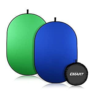 Emart 5 x 6.5ft Portable Green Screen Chromakey Collapsible Background, Pop up Greenscreen 2-in-1 Blue Screen Backdrop for Zoom Virtual Background, Video Photography (Chroma-Key Blue/Green Foldable)