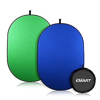 EMART Portable Green Screen Backdrop 5 x 6.5ft Collapsible Pop Up Chromakey Background 2-in-1 Fold Blue Greenscreen for Chair Zoom Virtual Home Office Camera Travel