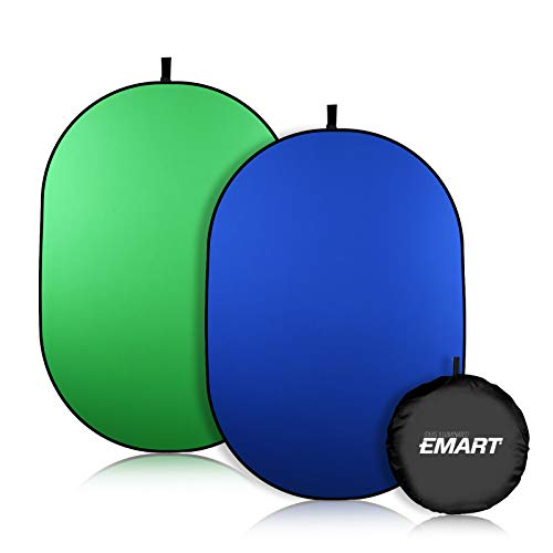 EMART Portable Green Screen Backdrop, 5 x 6.5ft Collapsible Pop Up Chromakey Background, 2-in-1 Fold Blue Greenscreen for Chair, Zoom Virtual, Home Office, Camera, Travel
