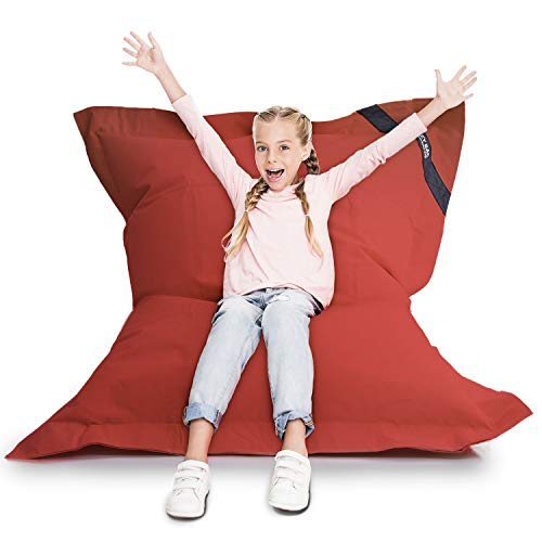 Lazy Bag Original Indoor & Outdoor Sitzsack XL 250 Liter Riesensitzsack Junior-Sitzkissen Sessel für Kinder & Erwachsene 160x120 (Rot)