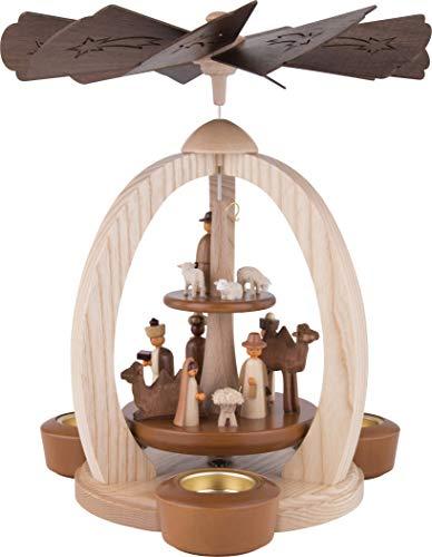 2-stöckige Weihnachtspyramide Christi Geburt Exklusiv - 28 cm - 100% Erzgebirge Pyramide