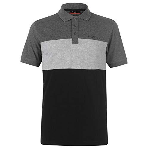 Pierre Cardin - New Season - Polo de piqué para hombre, 100% algodón, corte y costura, con cuello de piqué, con bordado de la firma Negro/Gris Marl 3XL