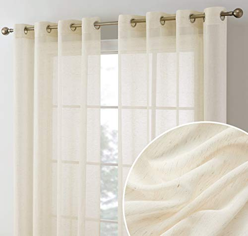 HLC.ME Sierra Burlap Flax Linen Semi Sheer Privacy Light Filtering Transparent Window Grommet Floor Length Thick Curtains Drapery Panels for Office & Living Room, 2 Panels (54 W x 84 L, Cream)
