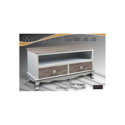 Mobile Porta TV Grigio Bianco 100 * 42 * 55 Shabby DECAPE' PROVENZALE