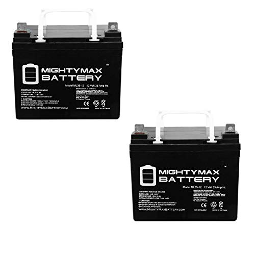 Mighty Max Battery ML35-12 - 12V 35AH U1 Wheelchair Battery Replaces 33ah Werker WKDC12-33J - 2 Pack Brand Product